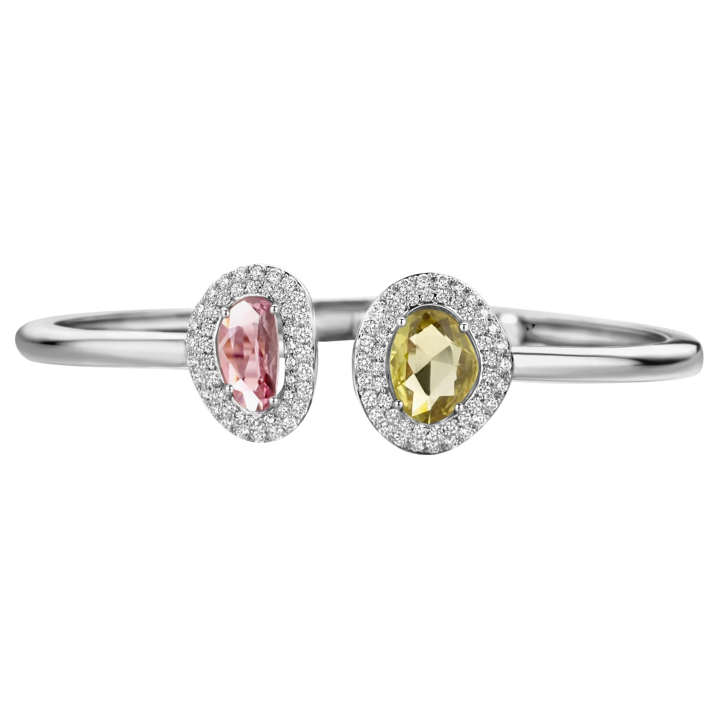 2.73 Carat Pink and Yellow Sapphire 18 Karat Two-Stone Diamond Bangle