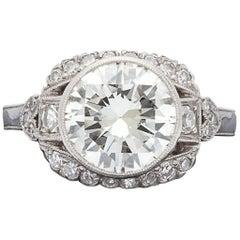 2.73 Carat Round Brilliant-Cut and Platinum Engagement Ring