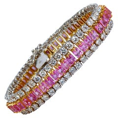 27.33ct Natural Pink Sapphires Diamonds Bracelet 18kt Three Tier Magnificent