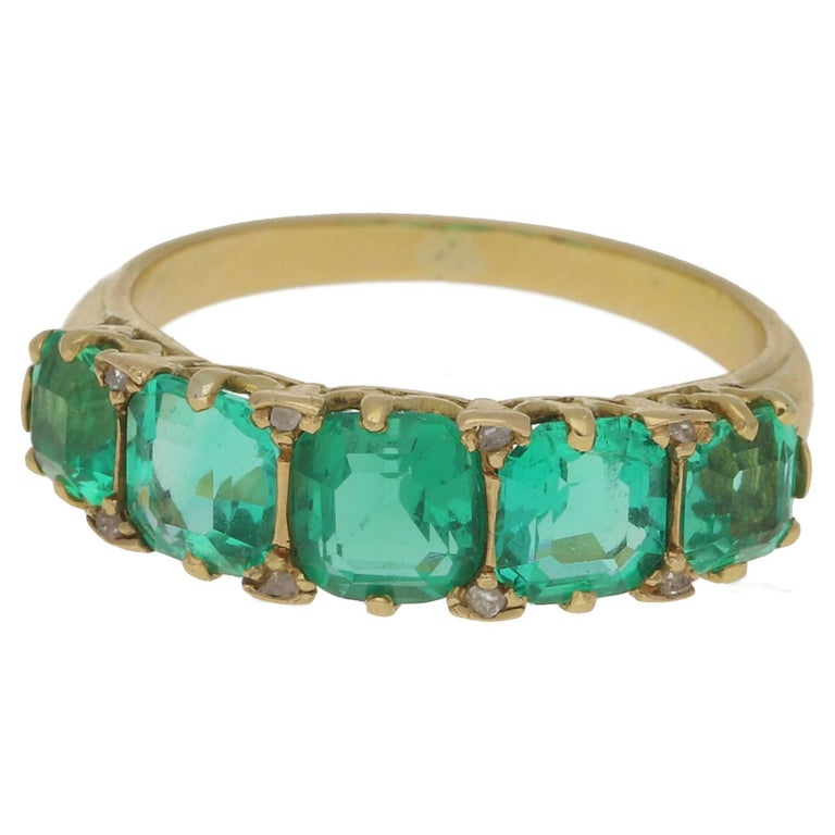 2.73 Carat Emerald Five-Stone Gold Ring