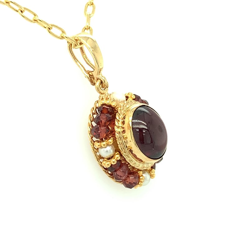 Artisan 2.74 Carat Garnet Cabochon, Garnet Bead and Seed Pearl Filigree Necklace For Sale