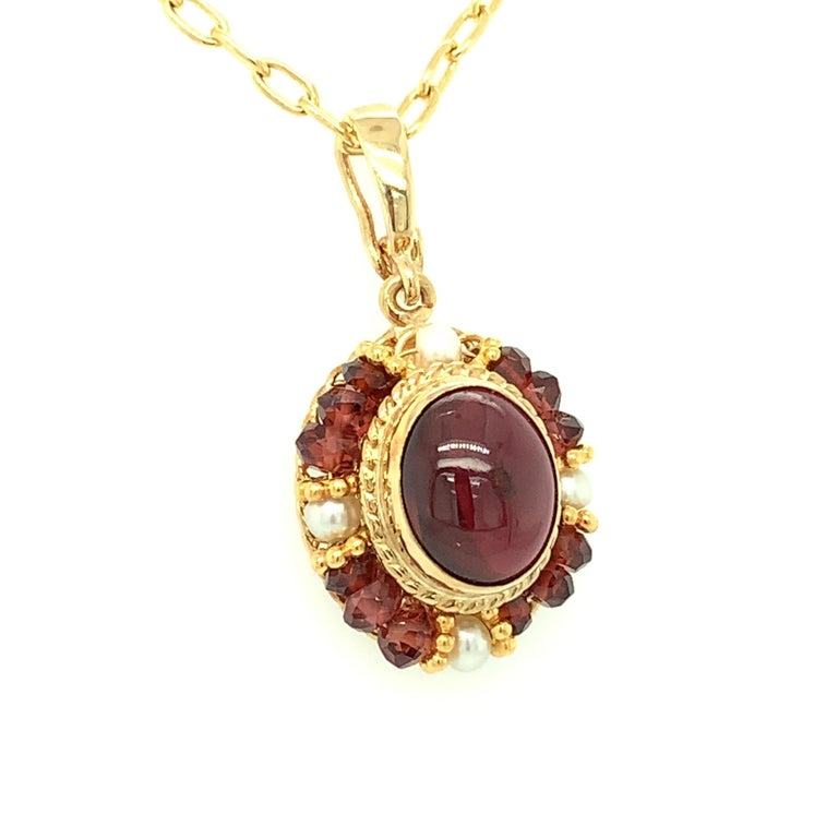 2.74 Carat Garnet Cabochon, Garnet Bead and Seed Pearl Filigree Necklace In New Condition For Sale In Los Angeles, CA