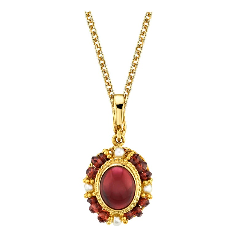 2.74 Carat Garnet Cabochon, Garnet Bead and Seed Pearl Filigree Necklace For Sale