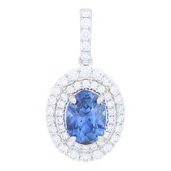 2.74 Carat Oval Cut Sapphire and Diamond Pendant, 18k White Gold Double Halo AGL
