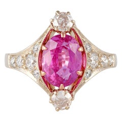 2.74 Carat Pink Sapphire and Diamond Ring Studded in Matte White Gold