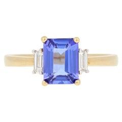 2.74 Carat Rectangle Cut Tanzanite and Diamond Ring, 18 Karat Yellow Gold