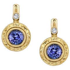 2.74 Carat Tanzanite and Diamond 18 Karat Yellow Gold Earring