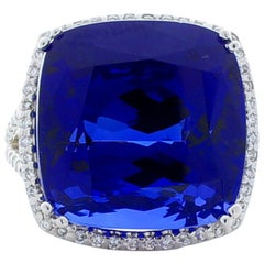 27.40 Carat Cushion Tanzanite and Diamond Cocktail Ring in White Gold
