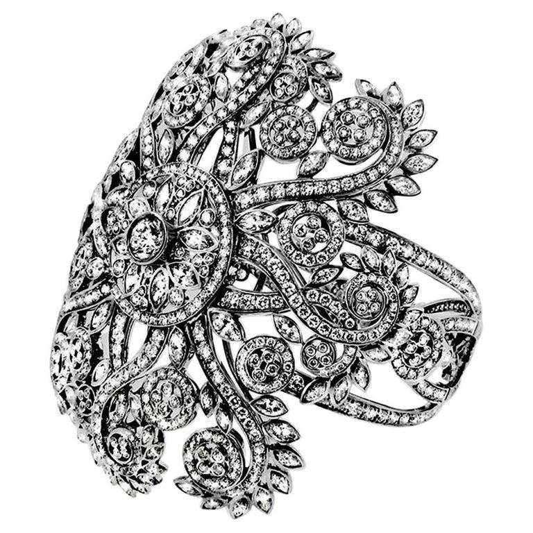 "27.45 Carat White Diamond 18 Karat White Gold ""Mandala"" Bracelet For Sale"