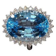 27.47 ctw Blue Topaz Diamond 18k White Gold Ring
