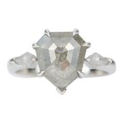 2.74ct Shield Shape Salt and Pepper Diamond 14K Gold Engagement Ring AD2318