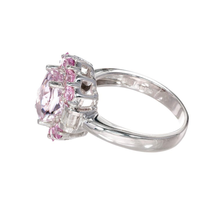Oval Cut 2.75 Carat Amethyst Diamond Sapphire Halo White Gold Engagement Cocktail Ring For Sale