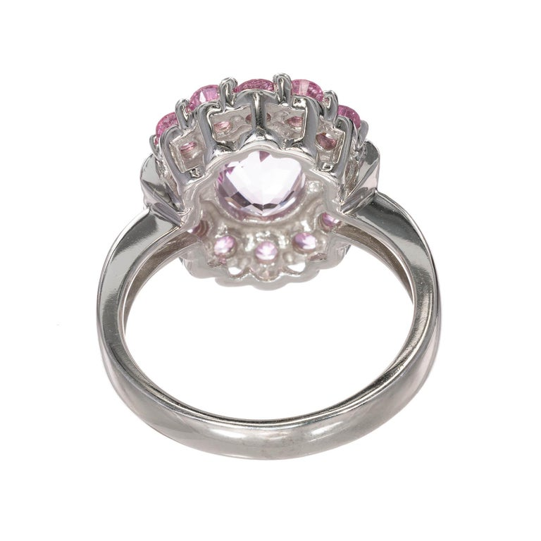 2.75 Carat Amethyst Diamond Sapphire Halo White Gold Engagement Cocktail Ring In Good Condition For Sale In Stamford, CT