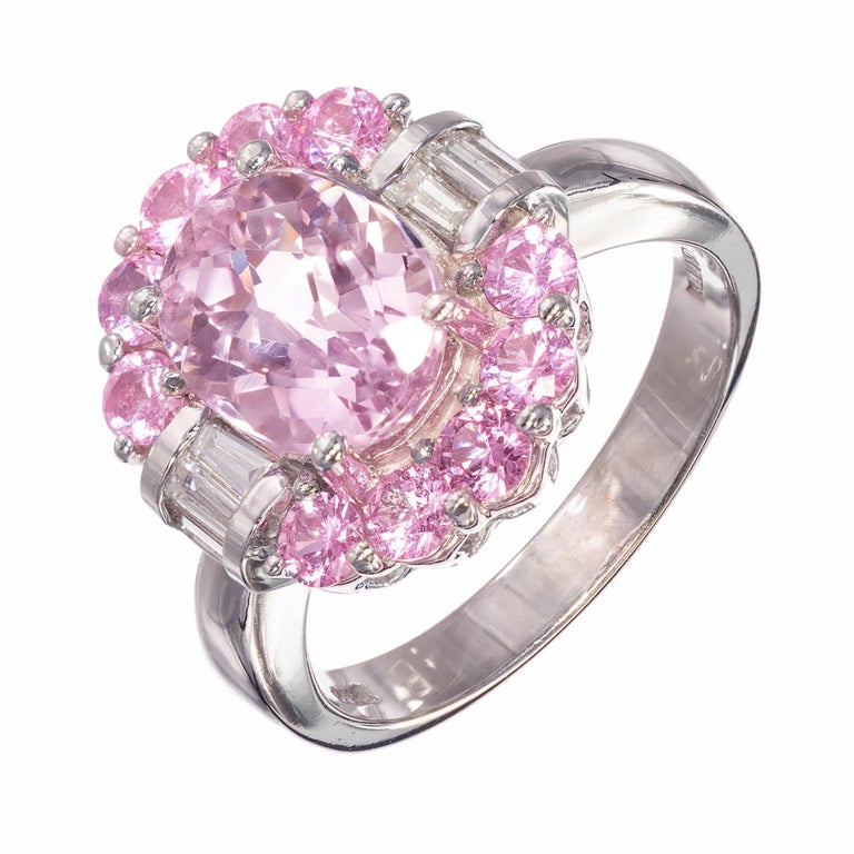 2.75 Carat Amethyst Diamond Sapphire Halo White Gold Engagement Cocktail Ring For Sale