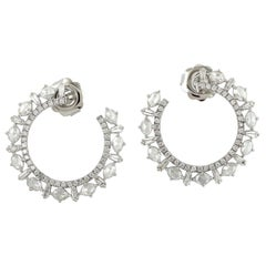 2.75 Carat Diamond 18 Karat White Gold Spiral Hoop Earrings