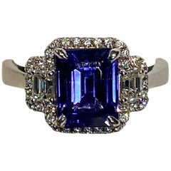 2.75 Carat Emerald Cut Tanzanite Diamond Ring