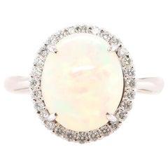 2.75 Carat Ethiopian Opal and Diamond Halo Ring Set in Platinum