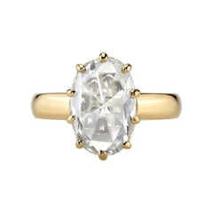 2.75 Carat GIA Certified Oval Rose Cut Diamond Set in an 18 Karat Gold Mounting