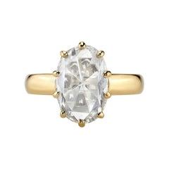 2.75 Carat GIA Certified Oval Rose Cut Diamond Set in an 18 Karat Gold Mounting