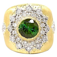 2.75 ct. Green Tourmaline, Diamond 18k Yellow Bezel & White Gold Florentine Ring