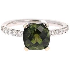 2.75 Carat Green Tourmaline Diamond 14 Karat White Gold Ring