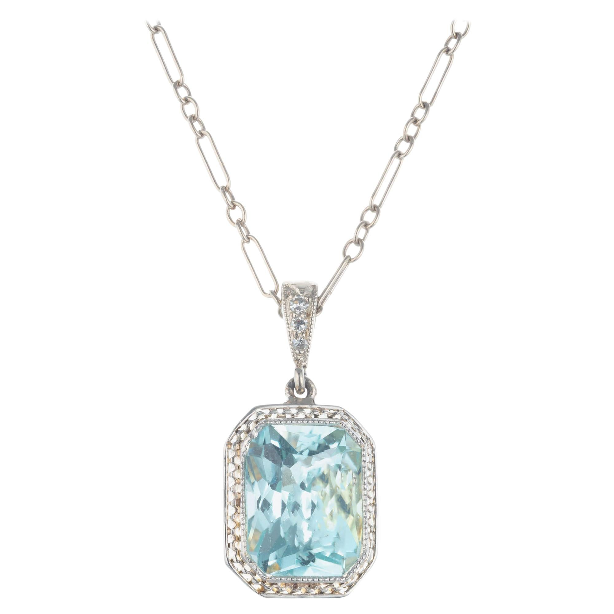 2.75 Carat Natural Aqua Antique Art Deco Platinum Gold Pendant Necklace