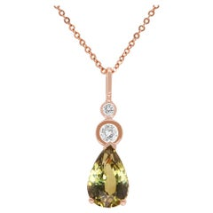 GIA Certified Natural Color Changing Alexandrite Diamond Pendant 14K Rose Gold