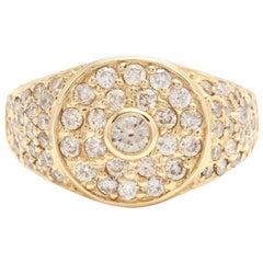 2.75 Carat Natural Diamond 14 Karat Solid Yellow Gold Men's Ring