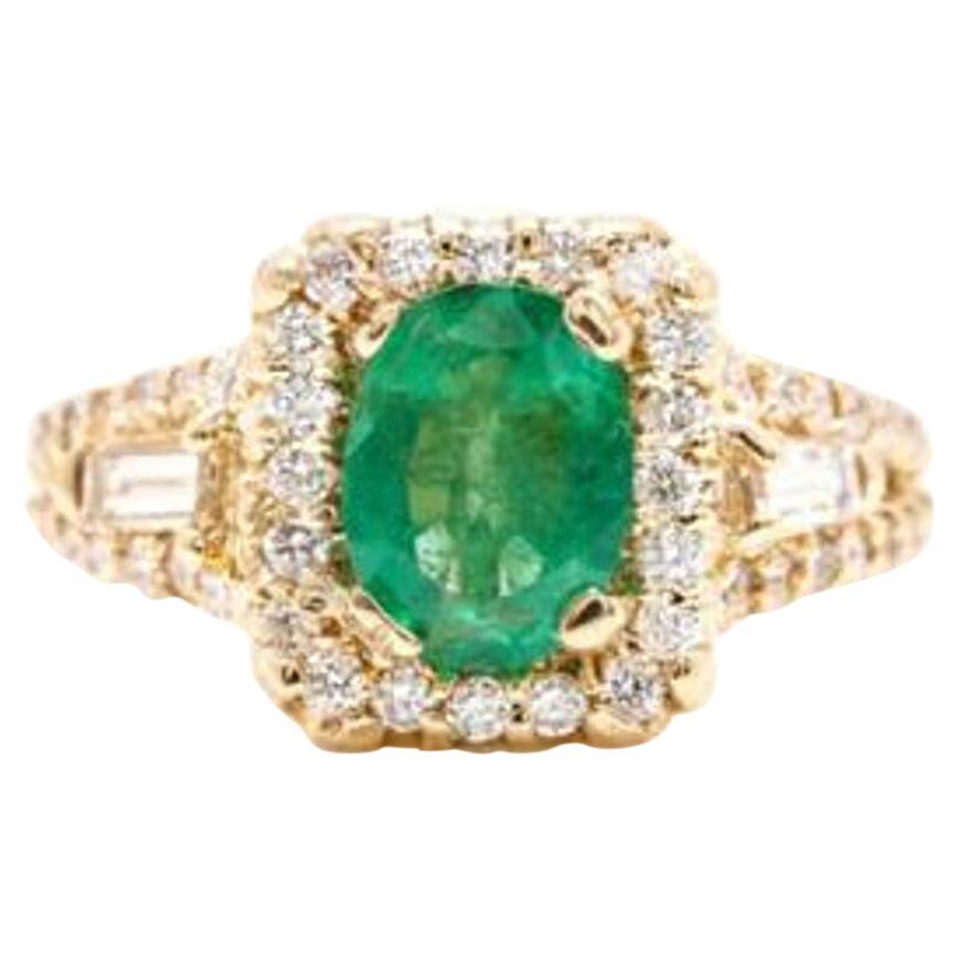 2.75 Carat Natural Emerald and Diamond 14 Karat Solid Yellow Gold Ring