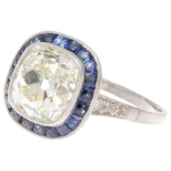 2.75 Carat Old Mine Cut Diamond Sapphire Platinum Halo Engagement Ring