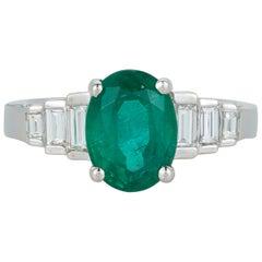 2.75 Carat Oval Emerald Baguette Diamond Cocktail Ring 18 Karat White Gold