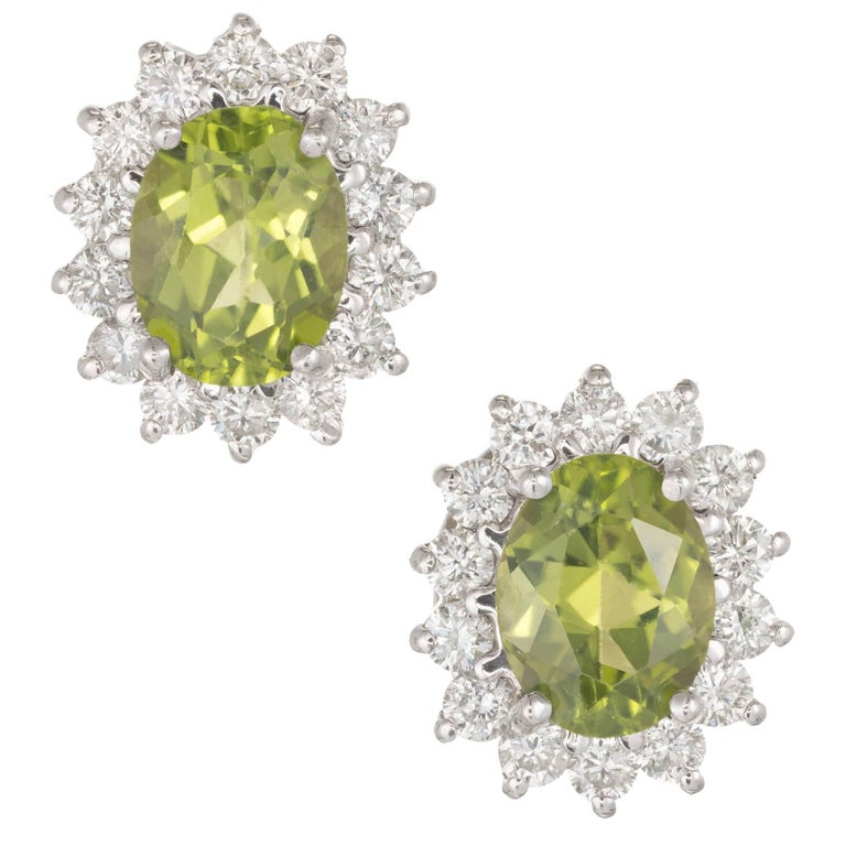 2.75 Carat Oval Peridot Diamond Halo Gold Stud Earrings