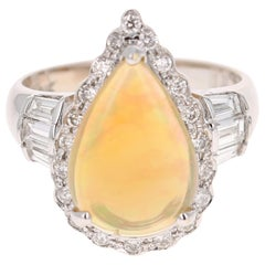 2.75 Carat Pear Cut Opal Diamond 14 Karat White Gold Ring