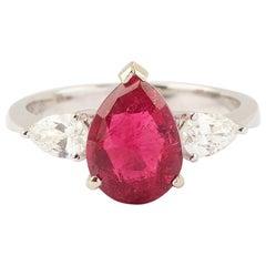 2.75 Carat Pear Cut Rubellite 0.50 Carat Diamonds 18 Carat White Gold Ring
