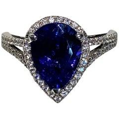 2.75 Carat Pear Shaped Tanzanite Diamond Halo Ring
