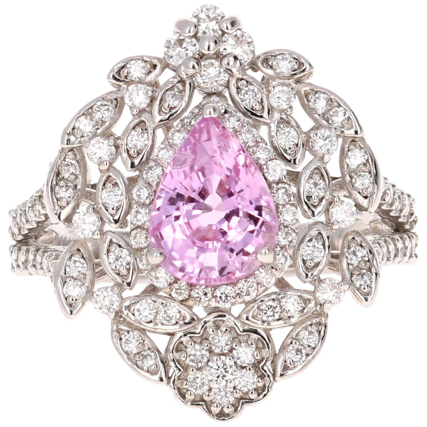 2.75 Carat Pink Sapphire Diamond White Gold Cocktail Ring