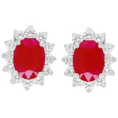 2.75 Carat Oval Ruby and Diamond Halo Stud Earrings 14K White Gold