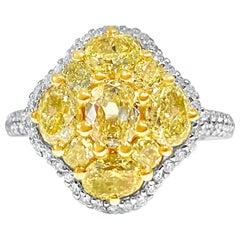 2.75 Carat Total Weight Natural Fancy Intense Yellow Cluster Diamond Ring