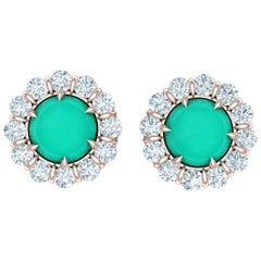 2.75 Carat Turquoise and Diamond Rose Gold Earrings