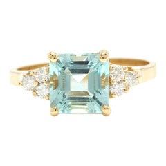 2.75 Carats Natural Aquamarine and Diamond 14k Solid Yellow Gold Ring