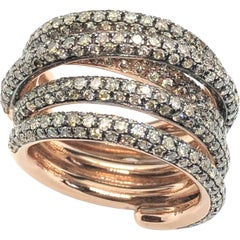 2.75 Carat Brown Pavé Diamonds Twist Strand Band Ring 9 Karat Rose Gold