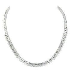 27.50 Carat 18K White Gold Ladies Diamond Collar Necklace