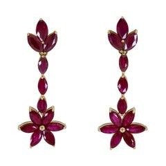 27.51 Carat Marquise Cut Ruby Flower Dangle Earrings