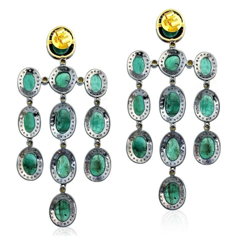 Contemporary 27.55 Carat Emerald Diamond Earrings For Sale