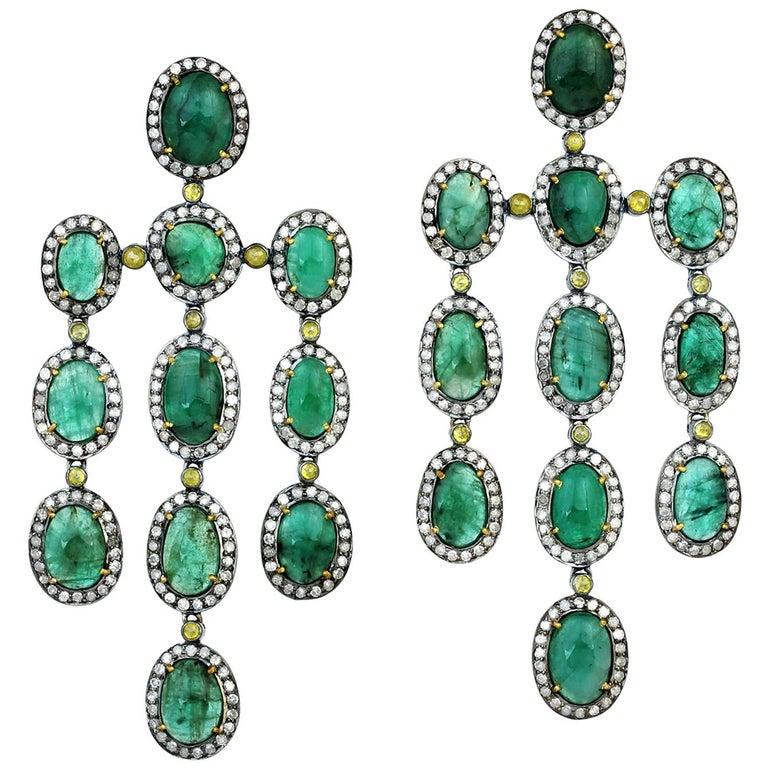 27.55 Carat Emerald Diamond Earrings For Sale