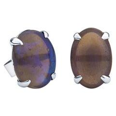 2.75 Carat Australian Blue Opal in 18 Karat White Gold Studs