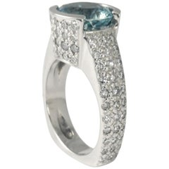 2.75 Carat Round Aquamarine and Pave Diamond Ring Classic Contemporary Fashion