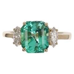 2.75tcw 14K Three Stone Asscher Colombian Emerald & Marquise Diamond Ring