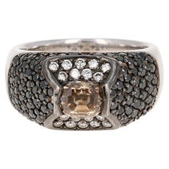 2.76 Carat Black and Fancy Colored Diamond White Gold Cocktail Ring