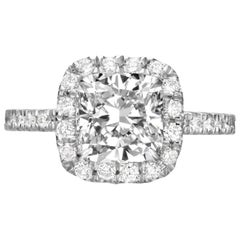 2.76 Carat Cushion Cut Diamond Engagement Ring